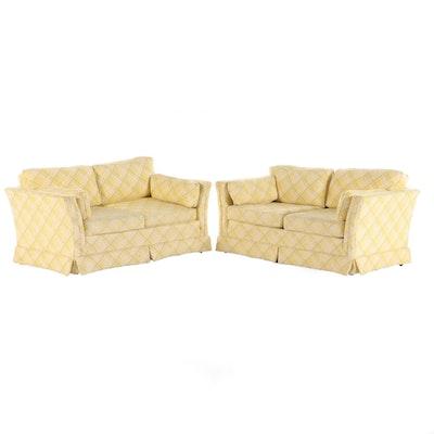 Pair of Franklin Furniture Yellow Plaid Loveseat Sofas