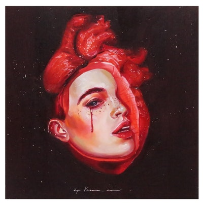 Inga Khanarina Surrealistic Portrait of Woman with Heart
