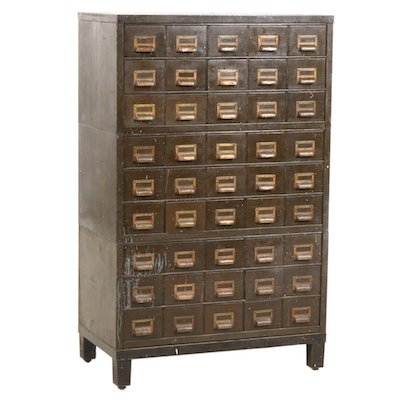 Metal Library Card Cabinet, Mid-20th Century