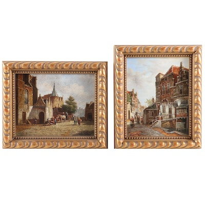 European Village Scenes Oil Paintings