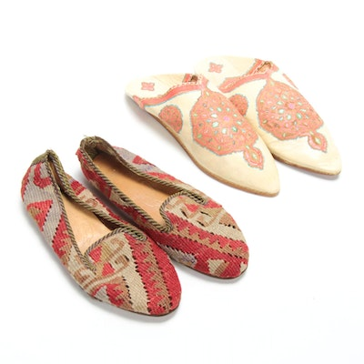 Turkish Handwoven Kilim Loafers and Moroccan Leather Babouche Flats, Vintage
