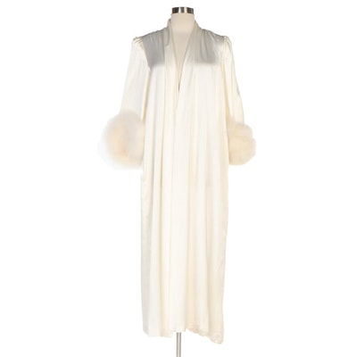 Lucie Ann Ivory Robe with Marabou Feather Cuffs, 1950s Vintage