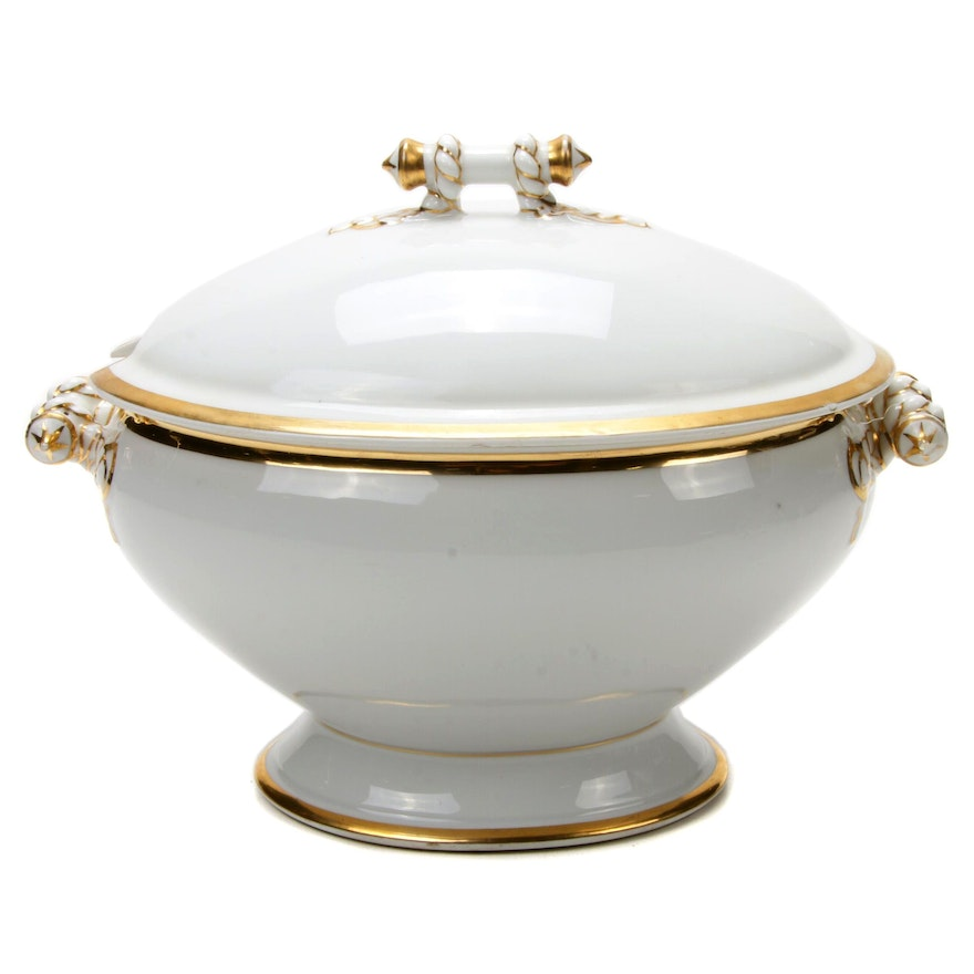 Haviland Porcelain Tureen Featuring Hand-Painted Gilt Rope Design, circa 1880