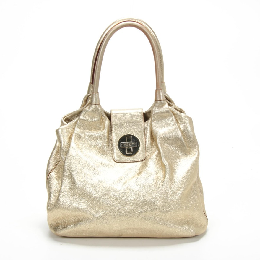 Kate Spade New York Gold Metallic Grained Leather Shoulder Bag