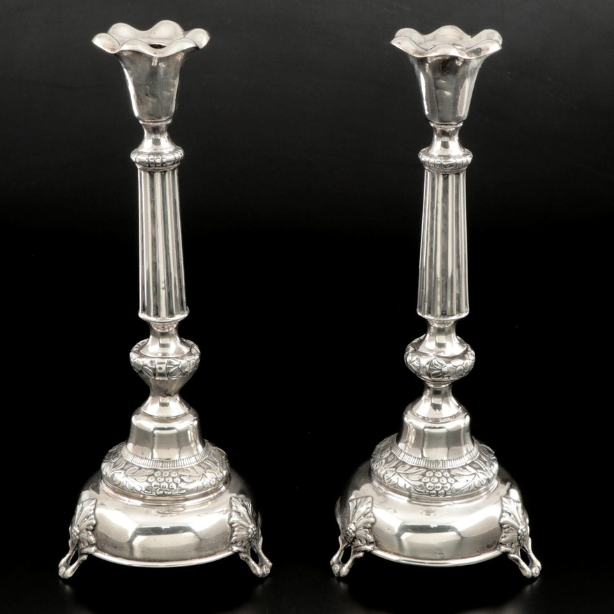 Imperial Russian 875 Silver Candlesticks, Late 19th Early 20th Century
