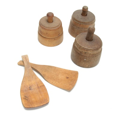 Wooden Cookie Mold Presses and Flat Presses