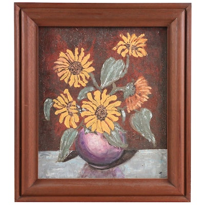 Still Life of Sunflowers Oil Painting, Mid to Late 20th Century