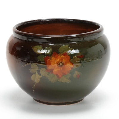 Art Pottery Floral Decorated Glazed Planter, Early 20th Century