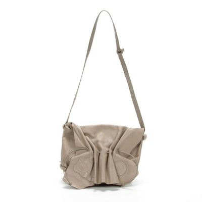 """Carlos Falchi Taupe Leather """"Butterfly"""" Crossbody Bag"""