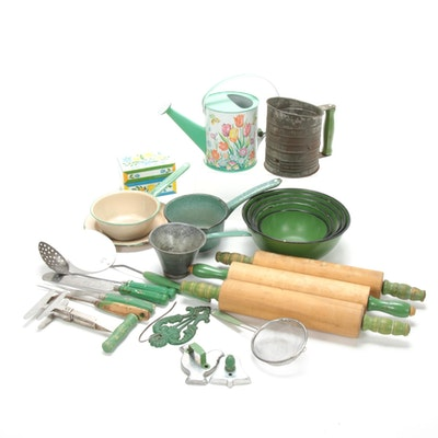 Green Enamel, Wood, and Metal Kitchen Tools