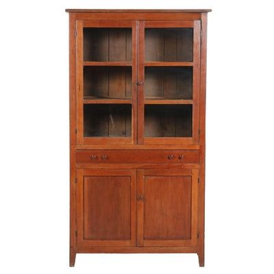 American Primitive Cherrywood Buffet and China Hutch, Mid-19th Century