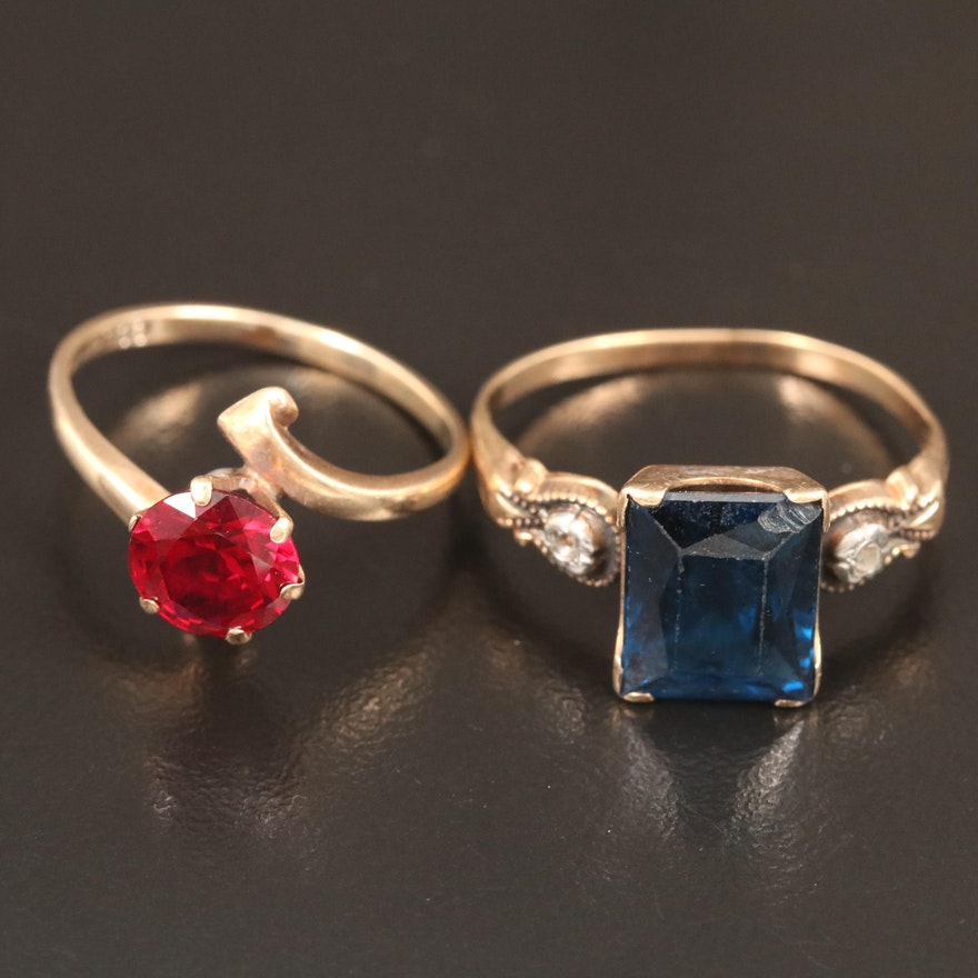 Vintage 10K Ruby and Blue Sapphire Rings