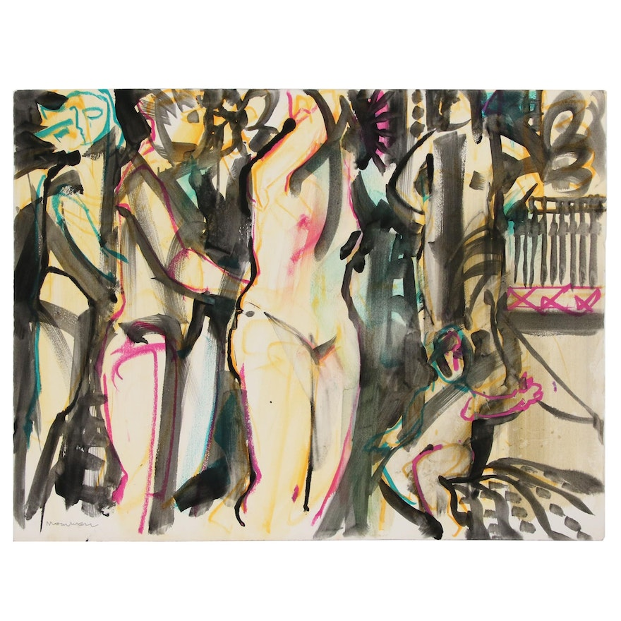 Jack Meanwell Abstract Figural Mixed Media Painting, Late 20th Century