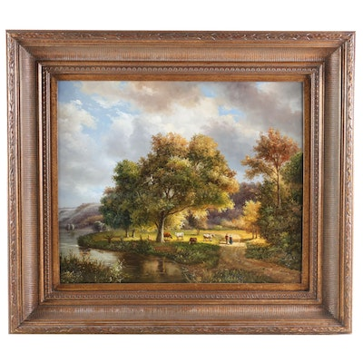 Pastoral Creekside Scene with Livestock Oil Painting