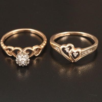 10K Diamond Heart Motif Rings