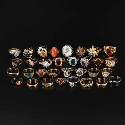 Ring Selection Featuring Glass, Cubic Zirconia, and Ceramic Accents