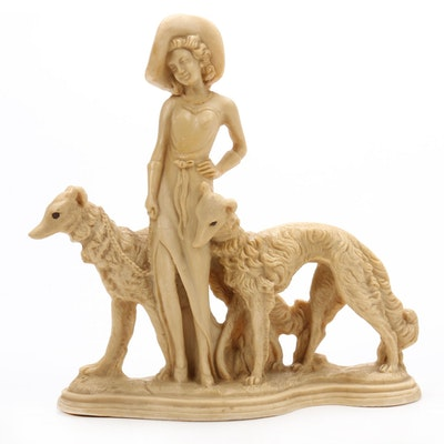 Lady with Borzoi Dogs Resin Figurine