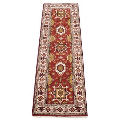 2'6 x 8' Hand-Knotted Indo-Caucasian Kazak Runner Rug