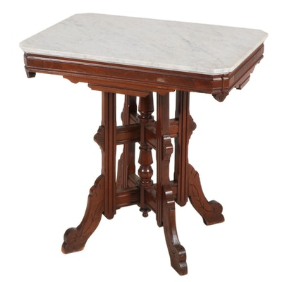 Victorian Eastlake Marble Top Walnut Side Table, Late 19th Century