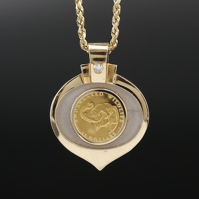 14K Diamond and Enamel Enhancer Necklace with 1990 Cook Islands Gold Coin