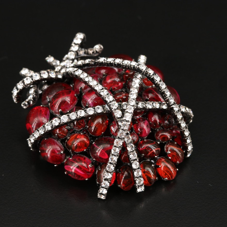 """Iradj Moini Large Scale Art Glass and Crystal """"Wrapped Heart"""" Brooch"""