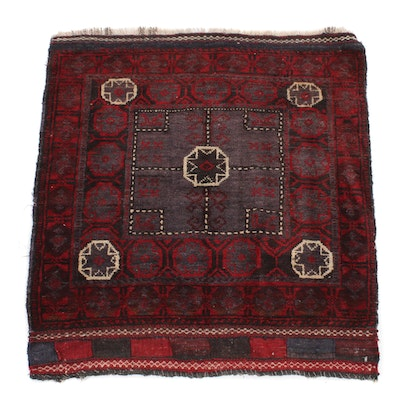 2'5 x 2'8 Hand-Knotted Persian Baluch Saddle Bag Rug, 1920s