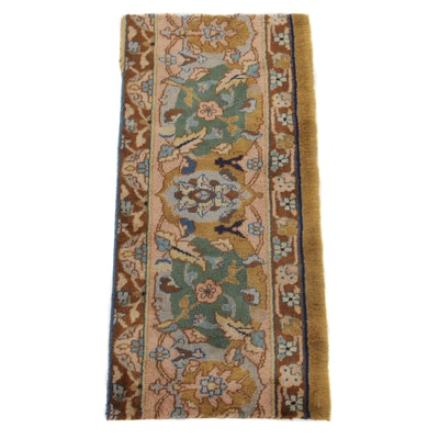 1'3 x 2'10 Hand-Knotted Turkish Oushak Remnant Rug, 1920s