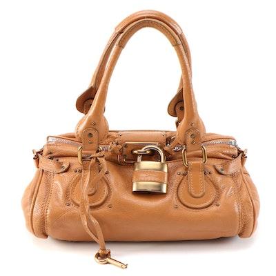 Chloé Paddington Tan Grained Leather Satchel