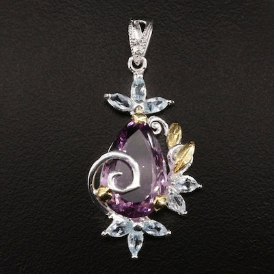 Sterling Silver, Amethyst and Topaz Pendant