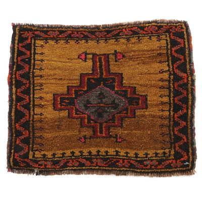 1'10 x 1'6 Hand-Knotted Turkish Village Rug, 1960s
