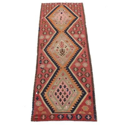 3' x 8'6 Handwoven Persian Qashqaie Shiraz Kilim Runner Rug, 1930s