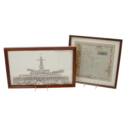 USS Arizona 1917 Christmas Menu and 1918 Full Crew Photograph, Framed