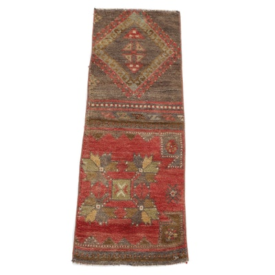 1'2 x 3'4 Hand-Knotted Turkish Village Rug Remnant, 1940s