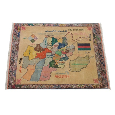 2'7 x 3'6 Hand-Knotted Afghani Turkoman Map of Afghanistan Rug, 2000