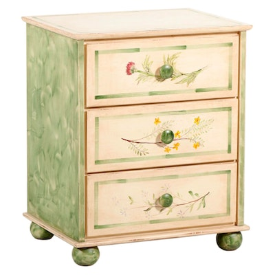 Farmhouse Style Hand-Painted Chest of Drawers, Late 20th Century