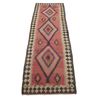 3'11 x 12'9 Handwoven Northwest Persian Kilim Runner Rug, 1920s