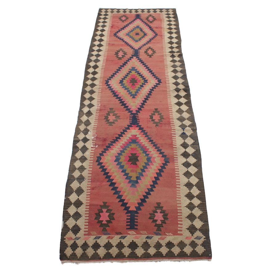 3'11 x 12'9 Handwoven Northwest Persian Kilim Runner Rug, 1920s
