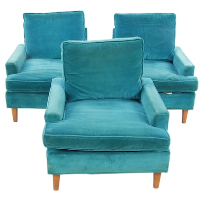 Three Sara Scott Furniture Mid Century Modern Low Armchairs