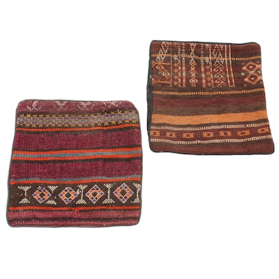 Handwoven Persian Kurdish Kilim Pillow Covers, 1990s