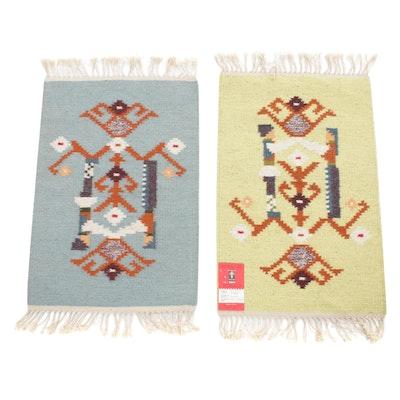 "1'3 x 2'4 Handwoven Russian ""The Harvest"" Folk Art Kilim Rugs, 1970s"