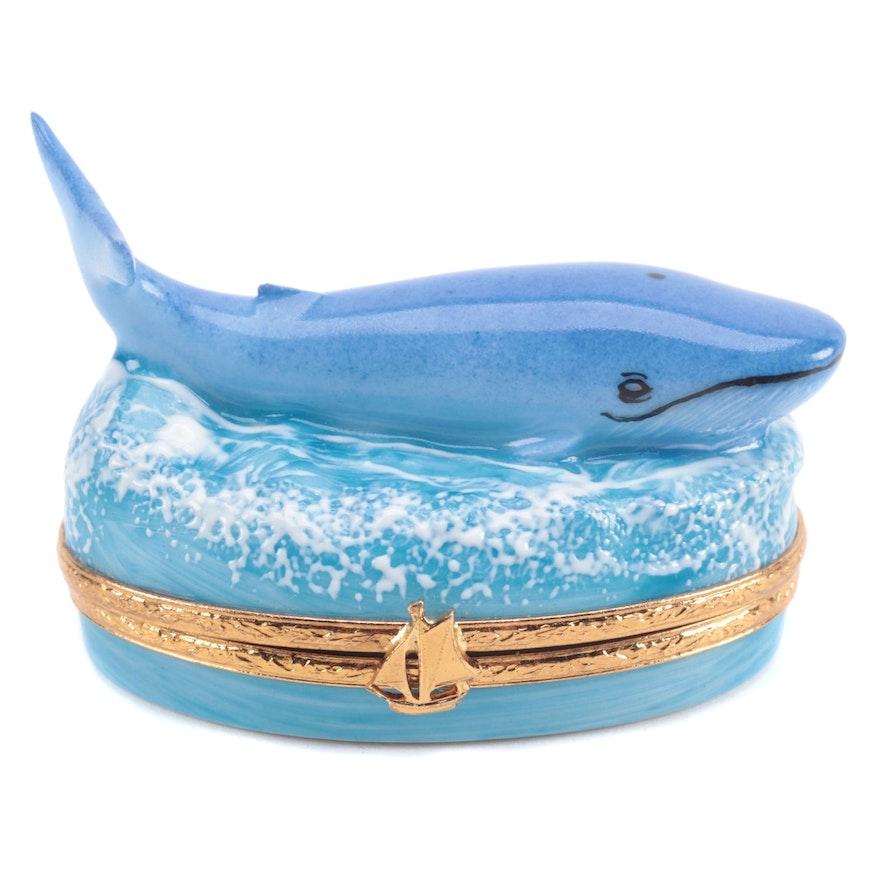 """Artoria Hand-Painted """"Blue Whale"""" Porcelain Limoges Box"""