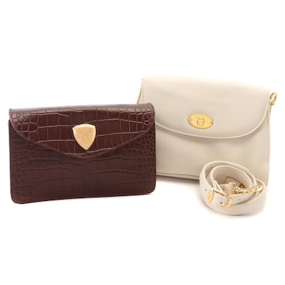 Etienne Aigner and Blaine Trump Convertible Off-White and Brown Leather Clutches