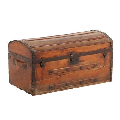 Handcrafted Wood and Iron Barrel Domed Trunk