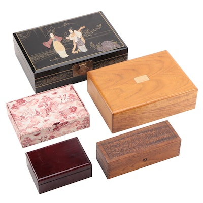 Wheeler & Wilson Sewing Notions Box with Wooden Humidor and Jewelry Boxes