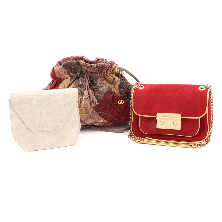 Michael Kors Red Suede Bag, Carlo Fiori Dyed Reptile Skin Patchwork Bag and More