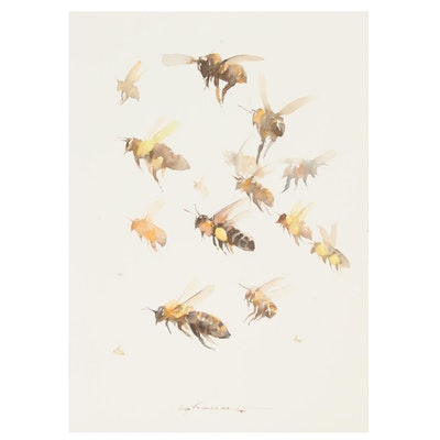 Inga Khanarina Watercolor Painting of Bees
