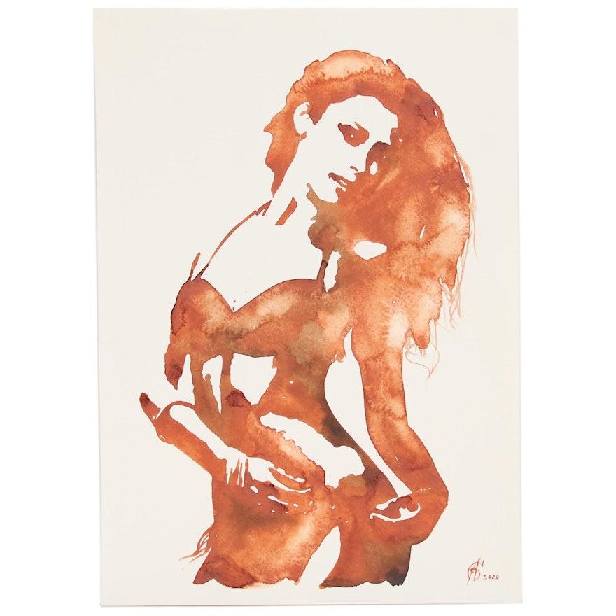 Alyona Glushchenko Figure Watercolor Painting of Standing Woman