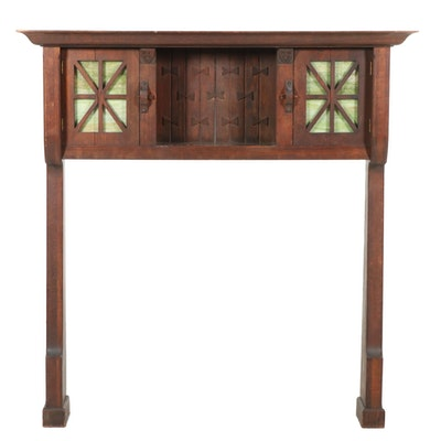 Arts & Crafts Oak Mantel, Early 20th Century