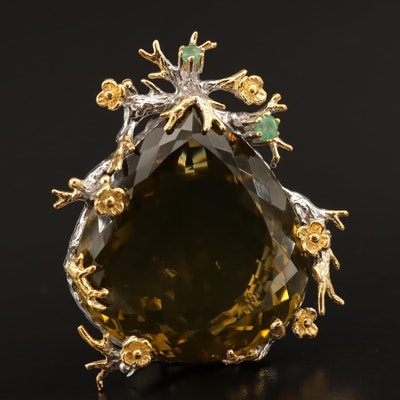 Sterling Silver Citrine and Emerald Converter Brooch With Floral Motif
