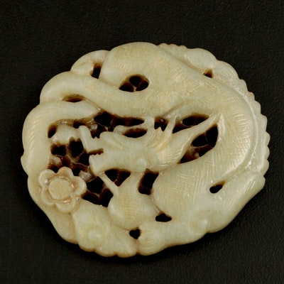 Chinese Nephrite Dragon Carved Medallion